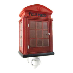 Retro Look English Telephone Booth Night Light Phone - This super cool British style telephone booth night light makes a wonderful gift for Anglophiles and Doctor Who fans everywhere. Measuring 6 inches tall, 3 inches wide and 2 1/2 inches deep, the light shines through the windows of the booth and shows off the detail of the red resin booth walls. The night light can be used in any North American power outlet. This beautiful night light is brand new, never used or displayed, and makes a great gift. It takes a standard night light bulb (included).