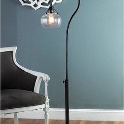 Adjustable Iron Floor Lamp with Seeded Glass Globe -