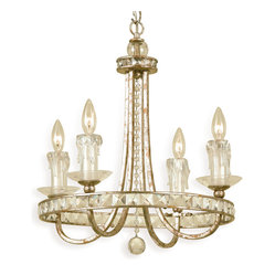 Kathy Kuo Home - Aris Soft Gold Crystal Hollywood Regency 4 Light Chandelier - Celebrate your inner Trump and showcase this impressive soft gold chandelier over your dining table, stairway or bed. The crystal and glass accents dazzle when lit, leading people to wonder how much more you're making at that new job of yours.