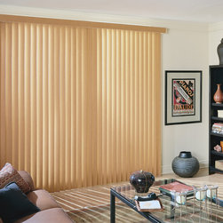 """Faux Wood Vertical Blinds - American Blinds Faux Wood Vertical Blinds match our 2"""" Fauxwood Horizontal BlindsFaux Wood Horizontal Blinds, and give you the look of real wood in a beautiful range of colors and finishes. Faux Wood Vertical Blinds by American Blinds are durable and warp resistant, and work beautifully with any decor."""