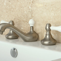 None - Satin Nickel Widespread Three-Hole Bathroom Faucet - Renovate the look of your bathroom with this satin nickel widespread bathroom faucet. Constructed of solid brass,this faucet will provide you with many years of reliable use. A ceramic cartridge system on this faucet ensures drip-free use.