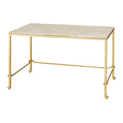 Kathy Kuo Home - Classic Gold Leaf Frame Hollywood Regency Writing Desk - Gold is always a great investment, especially when it is a gold leaf, crystal stone topped desk.  Whether your tastes are Mid Century or Hollywood Regency or even art deco, any modernist with a dedication to elegance will easily find a place in their home for this beauty.