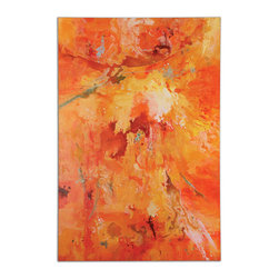 Uttermost - Radiant Sun Modern Art - Bring a burst of vivid color to your decor as only hand-painted artwork can. This vibrant painting on canvas eschews a frame for fresh-off-the-easel appeal.