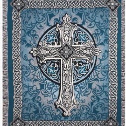 """Manual - Crosswalk"""" Blue Celtic Cross Tapestry Throw Blanket 50 Inch x 60 Inch - This multicolored woven tapestry throw blanket is a wonderful addition to any home. Made of cotton, the blanket measures 50 inches wide, 60 inches long, and has approximately 1 1/2 inches of fringe around the border. The blue, white and gray blanket features an ornate cross in the center, bordered on all four sides with Celtic Endless Knot patterns. Care instructions are to machine wash in cold water on a delicate cycle, tumble dry on low heat, wash with dark colors separately, and do not bleach. This comfy blanket makes a great gift for friends and family."""