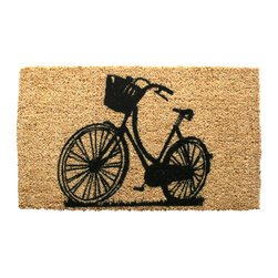 entryways - Bike Hand Woven Coconut Fiber Doormat - Designed by an artist, this distinctive mat is a work of art that will add a welcoming touch to any home. It is from Entryways' handmade collection and meets the industry's highest standards. This decorative mat is handsomely hand woven and hand stenciled.