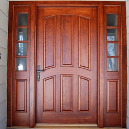 Entry Doors - Custom Cherry Entry System with operable sidelights and removable screens