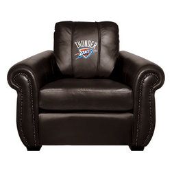 Dreamseat Inc. - Oklahoma City Thunder NBA Chesapeake Black Leather Arm Chair - Check out this Awesome Arm Chair. It's the ultimate in traditional styled home leather furniture, and it's one of the coolest things we've ever seen. This is unbelievably comfortable - once you're in it, you won't want to get up. Features a zip-in-zip-out logo panel embroidered with 70,000 stitches. Converts from a solid color to custom-logo furniture in seconds - perfect for a shared or multi-purpose room. Root for several teams? Simply swap the panels out when the seasons change. This is a true statement piece that is perfect for your Man Cave, Game Room, basement or garage.
