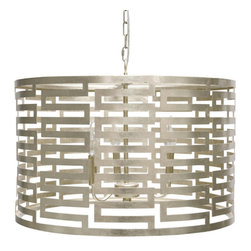 Worlds Away - Worlds Away Silver Leafed 3 Light Interior Cluster Pendant NOVA S - Silver leafed small greek key pendant with 3 light interior cluster. Fixture takes 3 - 40 watt chandelier bulbs. Comes with 3' of matching chain and canopy.