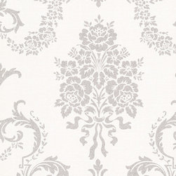 Bradford - Bh Buckingham Chambers Wallpaper - This glamorous floral damask wallpaper brings a couture drama to your space. With delightful drops of Belle Epoque-style silver glitter and an impressively large scale, this pattern is traditional, with an opulent up-do. Each wallpaper bolt is 20.5 inches wide and 33 feet long, covering about 56 square feet. The pattern has a 25.2 inch repeat and a Drop match.