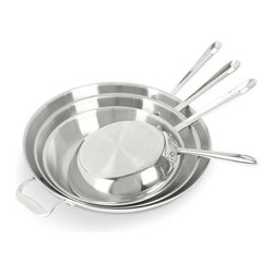 Tri-Ply Stainless Steel Skillets - No matter how small your kitchen or living space is, splurge on quality cookware. As long as the food tastes scrumptious, who cares how much square footage you have?