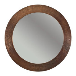 Premier Copper Products - 34 in. Hand Hammered Round Copper Mirror - Configuration: Round. Design: Hammered Copper Surface. Color: Oil Rubbed Bronze. Inner Dimension 26 in. x 26 in. x 1 in.. Outer Dimension: 34 in. x 34 in. x 1 in.. Installation Type: Wall Mount. Material Gauge: Industry Best (18 Gauge Wrapped Around MDF Plywood). Hand Made. Mirror: Included. 100% Recyclable. Composition: 99.7% Pure Recycled Copper. Lead Free (