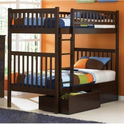 Arizona Twin over Twin Bunk Bed - About the Arizona Twin over Twin Bunk Bed Inspired by the Southwestern architecture of the same name the Arizona Twin over Twin Bunk Bed is the perfect addition to your child's room. It features solid hardwood construction clean-lined square posts and slats and it is available in handsome Antique Walnut Caramel Latte or Natural Maple finish. It looks great and can withstand what even the most rambunctious kids dole out. About Atlantic FurnitureFounded in 1983 as Watercraft Inc. Atlantic Furniture started as a manufacturer of pine waterbed frames. Since then the Springfield Mass.-based company has expanded to Fontana Calif. The company has moved away from the use of pine and now specializes in imported furniture made of the wood of rubber trees. The Benefits of Eco-Friendly RubberwoodPrized as an environmentally friendly wood rubberwood makes use of trees that have been cut down at the end of their latex-producing life cycle. The trees are removed by hand and replaced with new seedlings. In the past felled rubber trees were either burned on the spot or used as fuel for locomotive engines brick firing or latex curing. Now the wood is used in the manufacture of high-end furniture. It is valued for its dense grain stability attractive color and acceptance of different finishes. Atlantic's Unique Five-Step Finishing ProcessEach product in the entire line is finished with a high-build five-step finishing process. After a thorough sanding a wipe-on sealer is applied followed by a tinted sealer to even the grain and color of the wood. Additional sanding prepares the surface for the first base color coat more sanding and a second base color coat. After a final sanding the finish coat is applied. This process produces a beautiful and durable finish that will last for years.