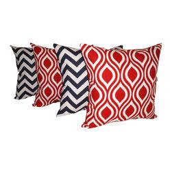Land of Pillows - Zig Zag Chevron Navy and Nicole Lipstick Red Decorative Throw Pillows - Set of 4 - Fabric Designer - Premier Prints