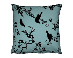 EcoFirstArt - Birdbranch - Reminiscent of woodcut art, this charming silhouette pattern of birds perched on branches provides the perfect contrast for your decor. This comfy pillow, made from ecofriendly materials, comes in a variety of colors, so find your favorite hue.