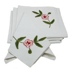 Xia Home Fashions - Crewel Embroidered Flora Linens Collection Set of 4 Napkins, Garden Red, 21x21 - Crewel embroidered Jacobean florals are rendered in different lively colors. Great for mixing and matching!