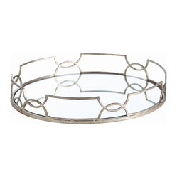 Arteriors - Cinchwaist Oval Tray, Silver Leaf By Arteriors - This round mirrored tray framed in delicate metalwork would make an elegant display for drinks on the bar or perfume bottles in the bedroom. The geometric border design of interlocking curves gives it a regal, art deco vibe.