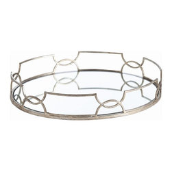 Arteriors - Cinchwaist Oval Tray, Silver Leaf - This round mirrored tray framed in delicate metalwork would make an elegant display for drinks on the bar or perfume bottles in the bedroom. The geometric border design of interlocking curves gives it a regal, art deco vibe.