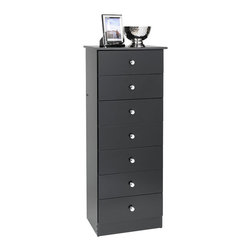 Prepac - Prepac Black Edenvale 20 Inch 7-Drawer Lingerie Chest - Get big storage without the big floor space with the edentate 7 drawer tall chest. This budget-friendly chest's seven drawers are built with your small garments and objects in mind, and each are easily removed for organization, cleaning or even moving. Small bedrooms take note, a narrow profile means it'll fit just about anywhere.