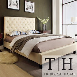 Tribecca Home - TRIBECCA HOME Sophie Beige Fabric Tufted Full-size Platform Bed - Straight lines and raised details highlight this modern platform bed from Insten. A Fabric upholstered finish lends to the contemporary style of this bed.