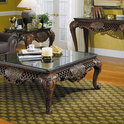 Homelegance - Homelegance Gladstone 3 Piece Square Coffee Table Set w/ Marble Top - These stately and oversized traditional occasional tables are finished in a rich dark cherry finish. Key design features include cabriole legs, black marble top with simulated wood components used to create the fretwork panels with the delicate floral bouquet motif. - 251-01-3-SET.  Product features: Gladstone Collection ; Dark Cherry Finish ; Traditional occasional tables ; Cabriole legs ; Black marble top ; Square Table Top Shape. Product includes: Cocktail Table (1) ; End Table (1) ; Sofa Table (1). 3 Piece Square Coffee Table Set w/ Marble Top belongs to Gladstone Collection by Homelegance.