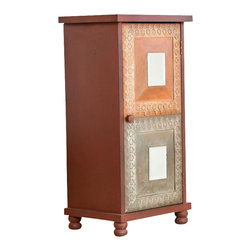 Southern Enterprises - Adalyn Storage Cabinet - Add a colorful flair to any room with this lovely storage cabinet. The lovely, distressed finish and details highlight the vibrancies of spice and Asian style influence. This storage cabinet features a lovely rustic finish in red with orange and earthy accent panels on the door. The cabinet door has one decorative mirror per panel, as well as silver detailing. The inside of this cabinet features two stationary shelves for ample storage. This cabinet is perfect for any homes in need of a bright accent. It's a great option to add storage and style to the family room, bedroom or home office.