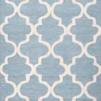 Jaipur Rugs - Hand-Tufted Geometric Pattern Wool Blue/Ivory Area Rug - Over scaled sharp geometrics characterize this striking contemporary range of  hand tufted rugs. The high/low construction in wool and art silk creates texture and surface interest and gives a look of matt and shine. Origin: India