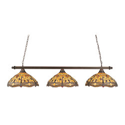 """Toltec - Toltec 803-BC-946 Black Copper Finish 3-Light Square Bar - Toltec 803-BC-946 Black Copper Finish 3-Light Square Bar with 16"""" Amber Dragonfly Tiffany Glass"""