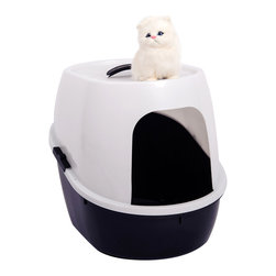 "Favorite - Favorite 21-Inch Side Entry Cat Litter Box in White & Black - Exterior size: 21""L x 16""W x 17""H; Entry Size: 8.5""W x 8.5""H; Interior size: bottom: 21""L x 11.5""W, waist: 21""L x 16""W, top: 21""L x 11.5""W; Covered cat litter box aids in controlling odors; Enclosed litter box provides kitties with privacy while retaining their litter inside the pan; Ideal for single cat or multi-cat households; Non-stick surface for easy cleaning. Color: white lid with black base. Size: 21""L x 16""W x 17""H."