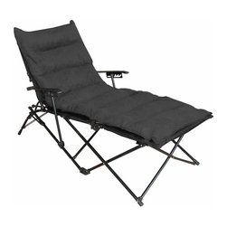 International Caravan - Folding Chaise Lounge with Micro Suede Cushion and Carry Bag - Black Cushion - Z - Shop for Chaise Lounges from Hayneedle.com! The Folding Chaise Lounge with Micro Suede Cushion and Carry Bag - Black Cushion is the ideal choice for outdoor concerts camping or simply as patio furniture. The collapsible frame is made from solid aluminum making it sturdy yet lightweight. This chaise lounge has a comfy micro-suede cushion (in a stark black color) and is easily stored in the matching black carrying bag. At only 27 lbs. taking comfort with you has never been easier. About International Caravan Inc.For nearly half a century International Caravan Inc. has been scouring the world for unique furniture and home decor products to bring to the international market. Today International Caravan Inc. is ranked as one of the leading import and wholesale distributors in the nation. Their products can be found on the largest E-commerce websites as well as in America's leading retail stores.