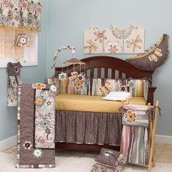 """Cotton Tale Designs - Penny Lane 8 Piece Crib Bedding Set - A quality baby bedding set is essential in making your nursery warm and inviting for your newborn. All Cotton Tale patterns are made using quality materials and are uniquely designed to create your perfect nursery. The Penny Lane 8 pc set includes bumper, fitted crib sheet, dust ruffle, coverlet, diaper stacker, toy bag, valance, and pillow pack. The Penny Lane collection is a 100% cotton. A fun retro pattern in contemporary floral and mosaic dots. Appliqued flowers with roushed centers, playfully placed along with appliqued butterflies. The four piece bumper with jumbo cord, ribbons of mosaic stripes with roushed flowers. Quilt in retro floral with mosaic dot roushing and appliqued flowers. Sheet in golden dot cotton. Dust ruffle in eggplant mosaic dot. The diaper stacker is 9 x 7 x 21 and holds up to five dozen newborn diapers. The toy bag is 27 x 13 x 1. Toy bags can be tied to the changer or can be used as wall decor, never tie toy bags to the crib. Fun and functional, holding toys or supplies, with a 10 lb. capacity. Penny Lane pillow pack has three separate pillows . The bottom pillow is ruffled and in retro floral 15x15. The center pillow in mosaic stripe 12x12 and the top in eggplant mosaic with applique flower 10x10. Ties in mosaic dot, can be used together or separately. Pillows are intended for decorative purposes only and not to be used in the crib. Spot clean only. Penny Lane valance in retro floral with eggplant mosaic ties and roushing trim. Measures 16"""" x 59"""" with six sets of dot ties. 100 % cotton. A beautiful combination of color blended in a warm creative ensemble. A perfect collection for your baby girl's nursery. Machine wash cold, gentle cycle, separately. Tumble dry low or hang to dry.; Weight: 12 lbs"""