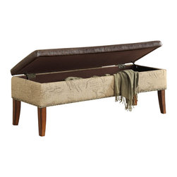 Armen Living - Antique Brown Storage Bench with Natural Jute - Rest a tray of cocktails or stow blankets and throws inside this stylish storage bench. Accented with antique nails and wrapped in a harmony of plush antique bonded leather and jute fabric for lasting appeal.