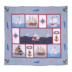 Patch Quilts - Ships Ahoy, Quilt King - Intricately appliqued and beautifully hand quilted. Machine washable, line or flat dry only. Patch Quilts - QKSAHY