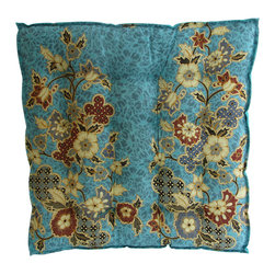 Garden Candy - Blue Cotton Seat Cushion - Garden Candy's Sarong Patterned Seat Cushion is made of 100% cotton filled with all-natural kapok for optimal comfort, durability, and style.  Turn it over to reveal a plain complementary color for a more simple look. Check out our Sarong Patterned Placemats and Rectangular Pillows to finish the look.