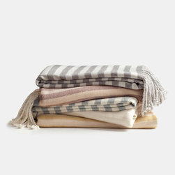 Grandin Road - Striped Bamboo Viscose Throw - Ultra soft, warm and lightweight striped throw. Woven from 100% bamboo viscose. Detailed with fringed end edges. Dry clean only. Toss one over the arm of a chair or the sofa or on the end of a bed; this soft and striped bamboo viscose throw makes the perfect accent and it's a great way to get cozy in any season. The classic stripe pattern is available in a beautifully curated collection of hues - you're sure to find the perfect color for your room.. . . . Imported.