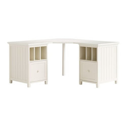 Beadboard Corner Divider Desk - A teen's desk needs to be spacious and offer a lot of storage. This corner piece fits snugly into a small bedroom and has enough storage to fit books, computer accessories and other school essentials.