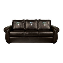 Dreamseat Inc. - Ski Cross Country Chesapeake Brown Leather Sofa - Check out this Awesome Sofa. It's the ultimate in traditional styled home leather furniture, and it's one of the coolest things we've ever seen. This is unbelievably comfortable - once you're in it, you won't want to get up. Features a zip-in-zip-out logo panel embroidered with 70,000 stitches. Converts from a solid color to custom-logo furniture in seconds - perfect for a shared or multi-purpose room. Root for several teams? Simply swap the panels out when the seasons change. This is a true statement piece that is perfect for your Man Cave, Game Room, basement or garage.