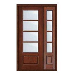 """Prehung Patio Sidelite Door 96 Fiberglass 3/4 Lite 4 Lite SDL Glass - SKU#MCR18-SDL4_DF834D41-1BrandGlassCraftDoor TypeFrenchManufacturer Collection4 Lite Entry DoorsDoor ModelDoor MaterialFiberglassWoodgrainVeneerPrice4190Door Size Options32"""" + 14""""[3'-10""""]  $032"""" + 12""""[3'-8""""]  $036"""" + 14""""[4'-2""""]  $036"""" + 12""""[4'-0""""]  $0Core TypeDoor StyleDoor Lite Style3/4 Lite , 4 LiteDoor Panel Style1 PanelHome Style MatchingDoor ConstructionPrehanging OptionsPrehung , ImpactPrehung ConfigurationDoor with One SideliteDoor Thickness (Inches)1.75Glass Thickness (Inches)Glass TypeDouble GlazedGlass CamingGlass FeaturesTempered glassGlass StyleGlass TextureClearGlass ObscurityNo ObscurityDoor FeaturesDoor ApprovalsTCEQ , Wind-load Rated , AMD , NFRC-IG , IRC , NFRC-Safety GlassDoor FinishesDoor AccessoriesWeight (lbs)498Crating Size25"""" (w)x 108"""" (l)x 52"""" (h)Lead TimeSlab Doors: 7 Business DaysPrehung:14 Business DaysPrefinished, PreHung:21 Business DaysWarrantyFive (5) years limited warranty for the Fiberglass FinishThree (3) years limited warranty for MasterGrain Door Panel"""