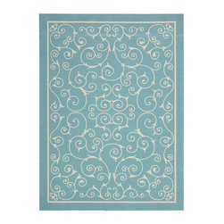 """Nourison - Nourison Home & Garden RS019 7'9"""" x 10'10"""" Light Blue Area Rug 11202 - Modern scrollwork in crisp linen white dances across an azure field. This chic update on a traditional design lends a fashionable twist to all styles of decor. Subtle yet eye-catching, it's a look you'll love to live with indoors or out."""