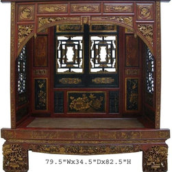 Vintage CaoZhou Antique Red Gold Carving Canopy Wedding Day Bed - It can be a special decorative love seat with frame in a media room. or a meditation bench with cushions. etc