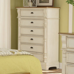 Coaster - Oleta Chest in Buttermilk/Brown Finish - Create a beautiful focal point for your master bedroom with the stunning Oleta bedroom collection. Matching pieces are finished in country white with gorgeous oak-tone tops. Enjoy a calm and tranquil setting while you relax in bed with a morning cup of coffee with help from the Oleta collection.