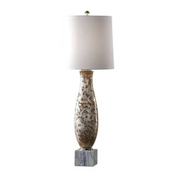 Murray Feiss 1 Bulb Mackie Silver&Dark Nude / White Marble With Black Lamp