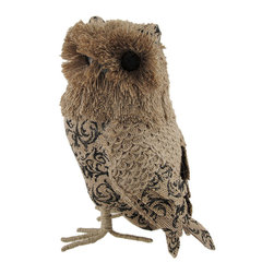 Zeckos - Whimsical Jute Owl Decorative Statue - Add a whimsical accent to your home or office with this jute owl statue that'll keep watch over the room with its unblinking amber eyes The body of the owl is made from Styrofoam covered with scrolling floral paisley printed burlap with a scalloped jute back and accented wings and jute covered metal wire feet. This owl stands 10.75 inches high, 6 inches long and 5.5 inches wide (27 X 15 X 14 cm) to perch on your shelf, tabletop, bookcase or mantel This piece makes a great gift for owl lovers sure to be admired