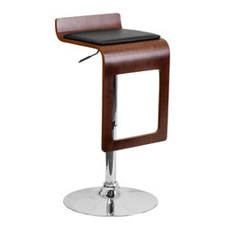 Flash Furniture - Walnut Bentwood Adjustable Bar Stool with Black Vinyl Seat and Drop Frame - Beautiful and elegant describe this bentwood style drop frame barstool. The seamless drop frame design gives this stool a contemporary design. This stool is complemented with a comfortable vinyl padded seat pad and a height adjustable swivel seat that adjusts from counter to bar height with the handle located below the seat.