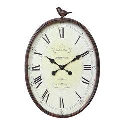 Metal Oval Bird Wall Clock -
