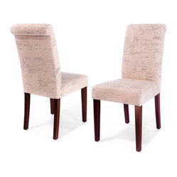 Great Deal Furniture - Script Printed Linen Dining Chairs, Set of 2 - Bid adieu to dining chairs as usual! Clean, simple lines meet the romance of French script linen upholstery in this pair of Parson chairs. Whether tucked under a dining room table or used as accents, let this duo bring a little French attitude into your home.