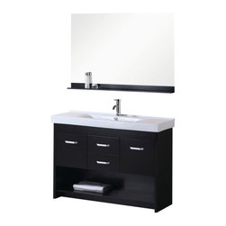 """Design Element - Citrus 48"""" Single Sink Vanity Set in Espresso - The Citrus 48"""" single-sink vanity is uniquely designed and constructed of quality woods. The robust edge brings a crisp clean contemporary look to any bathroom. The unique rolling and curved basin of the white rectangular sink beautifully contrasts with the sharp lines of the espresso cabinetry. This sophisticated vanity includes two center drawers and two soft-closing cabinet doors all adorned with satin nickel finish hardware. A large open storage shelf at the bottom provides additional storage. Included is a matching framed mirror with shelf. The Citrus Vanity is designed as a centerpiece to awe and inspire the eye without sacrificing quality functionality or durability."""