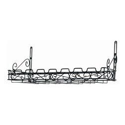 "Concept Housewares - Matt Black Metal Bottle & Glass Wall Wine Rack - Dimensions: 12""h X 31""w X10""d"