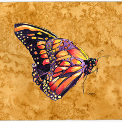 Caroline's Treasures - Butterfly On Gold Kitchen Or Bath Mat 24X36 - Kitchen or Bath COMFORT FLOOR MAT This mat is 24 inch by 36 inch. Comfort Mat / Carpet / Rug that is Made and Printed in the USA. A foam cushion is attached to the bottom of the mat for comfort when standing. The mat has been permenantly dyed for moderate traffic. Durable and fade resistant. The back of the mat is rubber backed to keep the mat from slipping on a smooth floor. Use pressure and water from garden hose or power washer to clean the mat. Vacuuming only with the hard wood floor setting, as to not pull up the knap of the felt. Avoid soap or cleaner that produces suds when cleaning. It will be difficult to get the suds out of the mat
