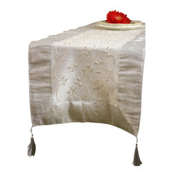 """Banarsi Designs - Hand Embroidered Table Runner, Snow White, 72"""" X 17"""" - The artistic """"Hand Embroidered Table Runner"""" from our Exclusive Banarsi Designs Collection transforms any tabletop into a visual masterpiece. Our unique decorative table runner is made in India and features an abstract pattern that incorporates techniques using hand embroidery throughout the entire decorative pattern."""