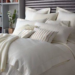 """Donna Karan Home - Donna Karan Home Knit Throw, 50"""" x 70"""" - Donna Karan Home's """"Urban Oasis"""" bed linens collection provides subtle texture in equally subtle colors. Select color when ordering. Moire jacquard linens with 7"""" flange are made of cotton. Quilted accessories with linear stitching are cotton voile....."""